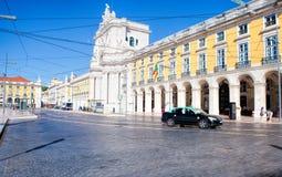 Pracaen gör Comercio av den Lissabon staden, Portugal Fotografering för Bildbyråer