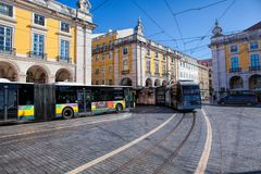 Pracaen gör Comercio av den Lissabon staden, Portugal Arkivfoto
