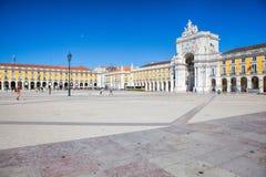 Pracaen gör Comercio av den Lissabon staden, Portugal Arkivfoton