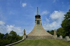 The Peace Memorial on Prace, Czech Republic. A small museum commemorates the battle of Austerlitz. stock photography