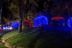 Prachinburi,泰国January11,2018 :LED在法国庭院里打开在Dasada画廊 库存图片
