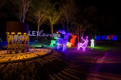 Prachinburi, Thailand-January11,2018 : La LED s'allument dans le jardin français à la galerie de Dasada Photo stock