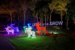 Prachinburi,Thailand-January11,2018:LED Light up in French Garden at Dasada Gallery. Dasada Gallery plays host to the Giving Blossom Festival from Dec2,2017 Stock Photos