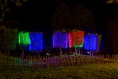 Prachinburi,Thailand-January11,2018:LED Light up in French Garden at Dasada Gallery. Dasada Gallery plays host to the Giving Blossom Festival from Dec2,2017 Royalty Free Stock Photo