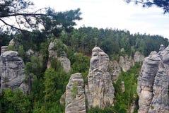 Prachov岩石在捷克共和国的塔形成 免版税库存图片
