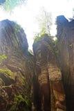 Prachov岩石在捷克共和国的塔形成 库存图片