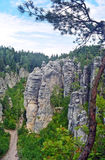 Prachov rock towers formation in Czech republic. stock photo