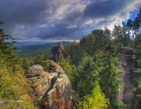 Prachov rocks /Prachovske skaly /, Bohemian paradise geopark, Czech Republic. Prachov rocks, Bohemian paradise geopark, Czech Republic. Amaszing autumn picture stock photography