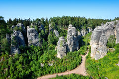 Prachov rocks view in summer Royalty Free Stock Photography