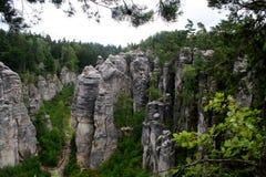 Prachovske skaly,在捷克共和国的岩石 库存图片