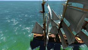 Prachtig Frans oorlogsschip uit op zee stock illustratie