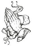 Prachtig gedetailleerde menselijke die handen in gebed worden gevouwen Beroep aan de God Geloof en hoop Godsdienstige motieven Ac vector illustratie