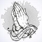 Prachtig gedetailleerde menselijke die handen in gebed worden gevouwen Beroep aan de God Geloof en hoop Godsdienstige motieven Ac stock illustratie