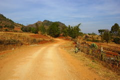 Prachtig landschap tussen meer Kalaw en Inle in Myanmar Royalty-vrije Stock Fotografie