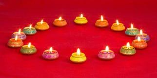 Prachtig Lit-Lampen voor het Diwali-Festival Royalty-vrije Stock Foto