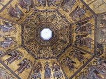Prachtig mozaïekplafond van de Doopkapel van San Giovanni, Flo Stock Fotografie