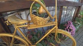 Prachtig verfraaide fiets met bloemen stock footage