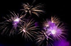 Prachtig Vuurwerk in de hemel bij nacht stock afbeelding