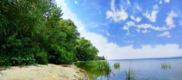 Prachtige Dnieper-Rivier Ð'each met weelderige wilgen en blauwe hemel stock foto
