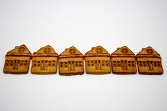 Prachtige en Heerlijke Koekjes met Marmelade in de vorm van een één-Verhaal Huis royalty-vrije stock afbeelding
