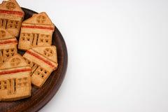 Prachtige en Heerlijke Koekjes met Marmelade in de vorm van een één-Verhaal Huis De ruimte van het exemplaar stock fotografie