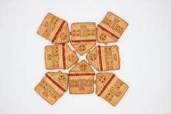 Prachtige en Heerlijke Koekjes met Marmelade in de vorm van een ??n-Verhaal Huis royalty-vrije stock foto's