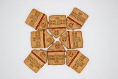 Prachtige en Heerlijke Koekjes met Marmelade in de vorm van een ??n-Verhaal Huis stock fotografie