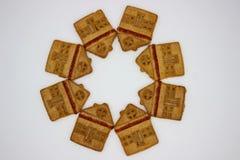 Prachtige en Heerlijke Koekjes met Marmelade in de vorm van een ??n-Verhaal Huis royalty-vrije stock foto