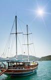 Prachtige jachten in de baai. Turkije. Kekova. Royalty-vrije Stock Afbeelding