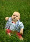 Prachtige kindzitting op groen gras royalty-vrije stock fotografie