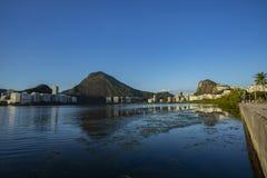 Prachtige plaatsen in de wereld Lagune en buurt van Ipanema in Rio de Janeiro, Brazilië royalty-vrije stock foto
