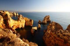 Prachtige rotsvormingen in Pointe DE Piedade, Algarve, Portugal Royalty-vrije Stock Foto
