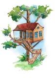 Prachtige treehouse met trede in het bos vector illustratie