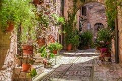 Prachtige verfraaide portiek in kleine stad in Italië in de zomer stock afbeelding