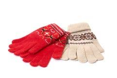 Prachtige vuisthandschoenen op wit. Stock Foto