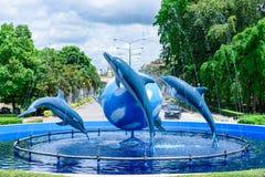 Prachuap Khiri Khan,泰国- 2017年4月, 18日:海豚fo 库存图片