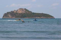 Prachuap Khiri Khan Beach Thailand, in holiday family enjoying play banana boat and swimming at the beach. Prachuap Khiri Khan Beach Thailand: 5 April 2018:- in Stock Photos