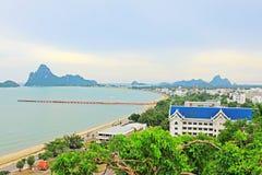 Prachuap Khiri Khan Seaside And Wharf, Tailândia imagens de stock royalty free