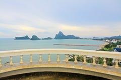 Prachuap Khiri Khan Seaside And Wharf, Tailândia imagens de stock