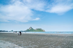 Prachuap Khiri Khan, THAILAND - April, 2015: People relax Ao Man Royalty Free Stock Photos