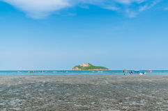 Prachuap Khiri Khan, THAILAND - April, 2015: People relax Ao Man Royalty Free Stock Image
