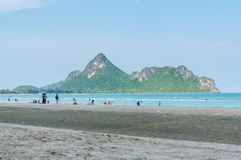 Prachuap Khiri Khan, THAILAND - April, 2015: People relax Ao Man Royalty Free Stock Photography