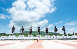 Great seven Thai King statues at Huahin. PRACHUAPKHIRIKHAN, THAILAND - JULY 31 : Great Seven Thail king statues at Rachaphak park in Huahin, Prachuapkhirikhan royalty free stock images