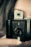 Pracować z rocznik kamerą obrazy royalty free