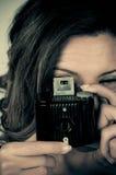 Pracować z rocznik kamerą fotografia royalty free