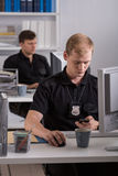 Pracować przy komendą policji Fotografia Royalty Free