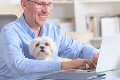 Pracować z psem lub biurem w domu Obrazy Royalty Free