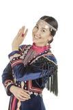 Pracowniana fotografii dziewczyna z wschodnią twarzą w Bashkir krajowym kostiumu, narodu utrzymanie na terytorium Rosja, na biały Zdjęcia Royalty Free