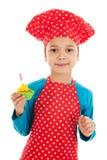 Pracowniana portret chłopiec jak kucharz trochę Obrazy Stock
