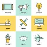 Pracowniane rozwoju produktu mieszkania ikony ilustracja wektor
